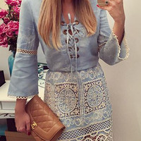 Bell Sleeve Lace Cutout Denim Mini Pencil Dress