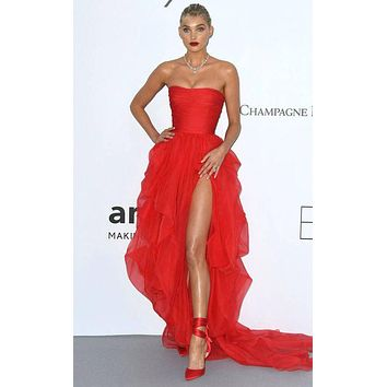 Elsa Hosk Strapless Prom Dress Thigh-high Slit High Low Red Carpet Dress 2018 Cannes TCD7996