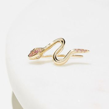 10k Diamond Tourmaline Snake Ear Pin