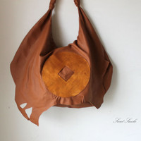 Oversized hobo brown bag leather EVERYDAY SHOPPING autumn fall golden chinese coin natural raw boho hobo handbag bohemian slouchy raw edges