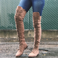 Sarah Lace Up Thigh High Boots - Taupe