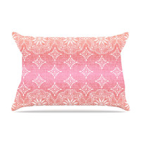 """Suzie Tremel """"Medallion Red Ombre"""" Pink Pillow Case"""