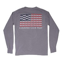 Longshanks Stars and Stripes Long Sleeve Tee Shirt in Grey by Country Club Prep