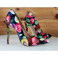 """Red Cherry Black Multi Floral Fruit Pointy Toe Pump Shoe 4.5"""" High Heels"""