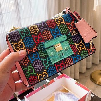 GUCCI hot sale color printed gold buckle square lock ladies crossbody bag shoulder bag
