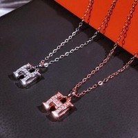 Hermes 925 Silver Classic Women H Letter Diamond Collarbone Chain Necklace Accessories Jewelry
