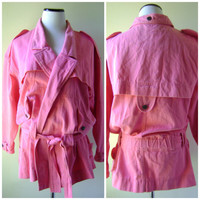 Neon Pink 80s Trench Coat Vintage Slouchy Oversized Belted Jacket Cotton Size S/M Small Medium Hipster 1980s Retro Bright Spring Outerwear
