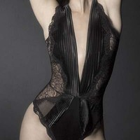 Sexy Lace Plunge Teddy with Pleated Satin and Floral Lace