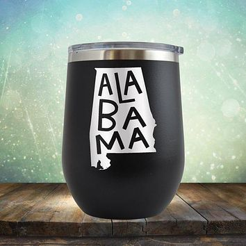 Alabama State Outline - Stemless Wine Cup