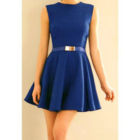 Blue Sleeveless Flounced Mini Dress