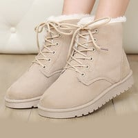 Fashion Winter Women Flat Lace-Up Warm Snow Ankle Boots