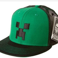 Officially Licensed   MINECRAFT SNAP BACK HAT   Green/Black Creeper Face Cap   M/L   56cm