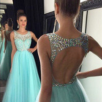 Light Blue Prom Dress,Hollow Back Prom Dresses,Evening Dresses