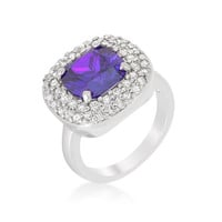 Micropave Lavender Purple Bridal Cocktail Ring, size : 09