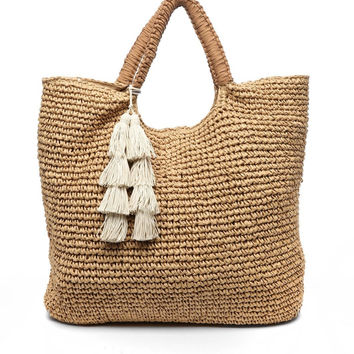 Oversized Designer Tote- Natural