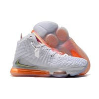 Nike LeBron 17 White Orange Men Sneakers - Best Deal Online