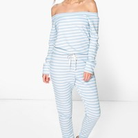 Mya Slash Neck Long Sleeve Lounge Jumpsuit