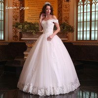 Gorgeous Ball Gowns Wedding Dresses 2017 Boat Neck Puffy Lace Beaded Applique White Arab Wedding Gowns robe de mariage