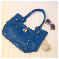 Fashionable Stud with Lock Accented Dazzling Blue Shoulder Bag, Purse, Women's Accessories