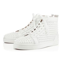 Christian Louboutin CL Louis Spikes Men's Flat White/white Leather Classic Sneakers Best Deal Online