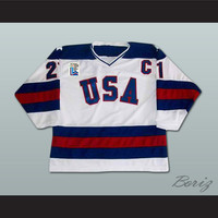 1980 Miracle On Ice Mike Eruzione 21 USA White Hockey Jersey with Patch