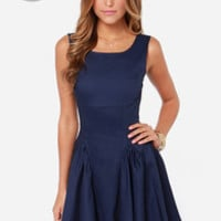 LULUS Exclusive Godet to You Navy Blue Dress