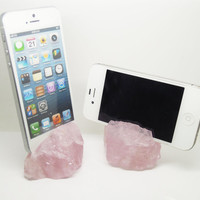 Etsy Black Friday/Cyber Monday Tech Lover Gift 1PCNatural Rose Quartz Rough Specimen iPhone 5,5s,5c Stand Dock Station