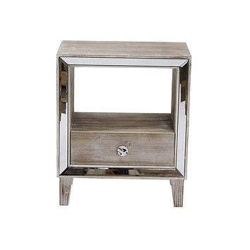 """Ikea Cabinets - 19'.7"""" X 13"""" X 23'.5"""" White Washed MDF, Wood, Mirrored Glass Accent Cabinet with a Drawer and n Open Shelf and an Mirrored Frame"""