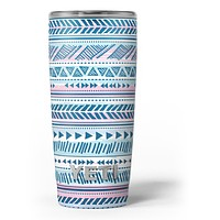 Pink to Blue Tribal Sketch Pattern - Skin Decal Vinyl Wrap Kit compatible with the Yeti Rambler Cooler Tumbler Cups