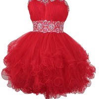 Dlass Sexy Crystal Beads Short Prom Dresses 2014 Party Gowns