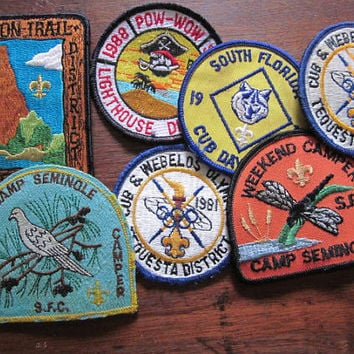 Seven Vintage Scouting Webelos Boy Scouts Camping Patches 1980s 1970s
