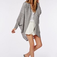 Missguided - Slouchy Knitted Cocoon Cardigan Light Grey