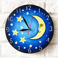 The Yellow Moon and Stars Blue Wall Clock Home Decor for Children Baby Kid Boy Girl Nursery Playroom