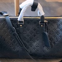 LV vintage embossed letters men and women large capacity tote bag travel bag