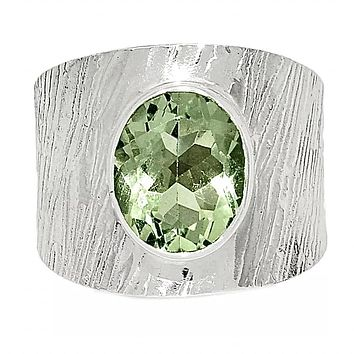 Prasiolite Sterling Silver Band Ring