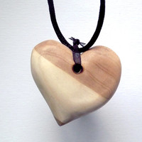 Wood Heart Necklace. Wooden Pendant, Hand Carved. Heart Pendant, Heart Jewelry, carved wood heart,  Heart Necklace, Tribal, Surfer, hippie