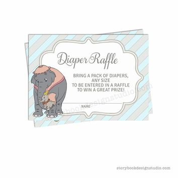 Baby Elephant Thank You Cards Dumbo Baby Shower Package Diaper Raffle Ticket