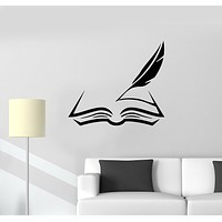 Vinyl Wall Decal Book And Feather Manuscript Bookstore Interior Stickers Mural (g369)
