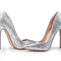 Brand Women Pumps 12CM High Heels Silver Glitter Wedding Shoes Woman High Heels Sexy Ladies Shoes Wo