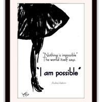 Audrey Hepburn quote, fashion Wall Art, girl room decor, decal decals, woman figure silhouette, illustration picture, nothing is possible