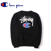 Champion The new autumn and winter embroidery logo tide Men 's loose sets of cotton wool sweater plus cashmere Black