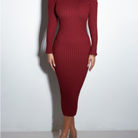 Off  Shoulder Long Sleeves Bodycon Midi Dress