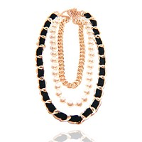 Triple Strand Pearl and Velour Chain Necklace