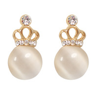 CHIC Royal Ivory Crown Stud Clip On Earrings