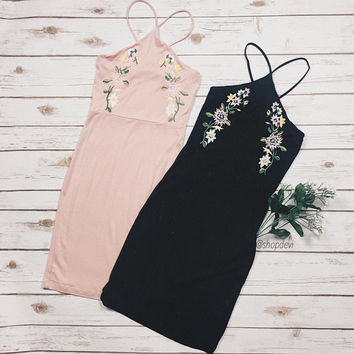 Anya Floral Embroidered High Neck Dress
