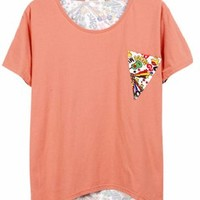 Pink Back Graphic Tee Shirt