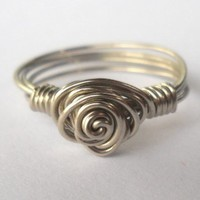 Silver Wire Rose Ring Size 6.5
