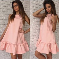 Sleeveless Flounced Mini Dress