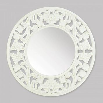 Round White Carved Wood Wall Mirror