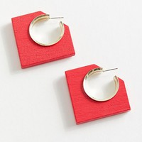 Aster Wood Hoop Earring | Urban Outfitters